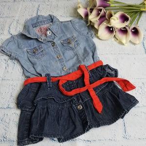 Kids Guess Denim Ruffle Dress with Red Belt